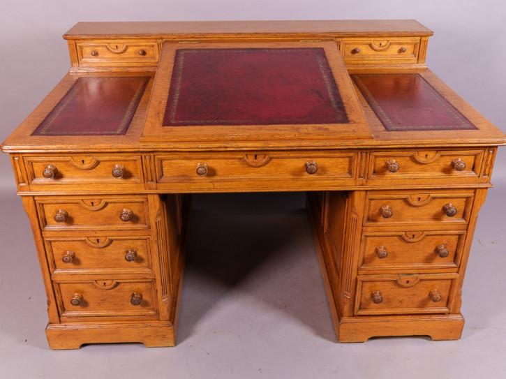 Viktorianischer Antiker Eichen Schreibtisch englisch ca. 1860