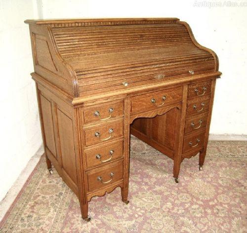 Viktorianischer Antiker Eichen Rollladen Schreibtisch englisch ca. 1860