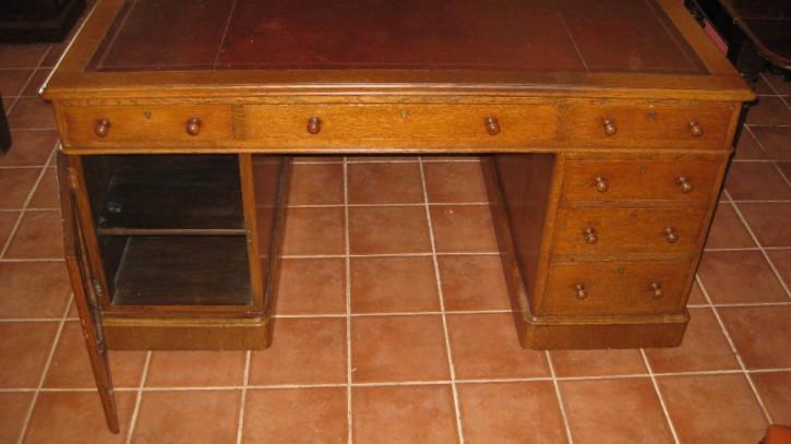 Antiker viktorianischer Eichen Schreibtisch englisch ca 1880