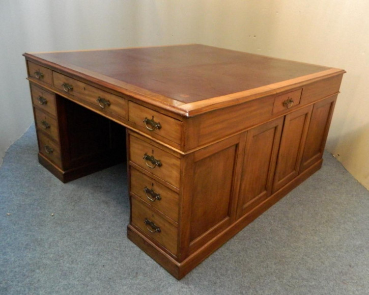 Antiker britischer Mahagoni Schreibtisch Partner Schreibtisch ca 1880
