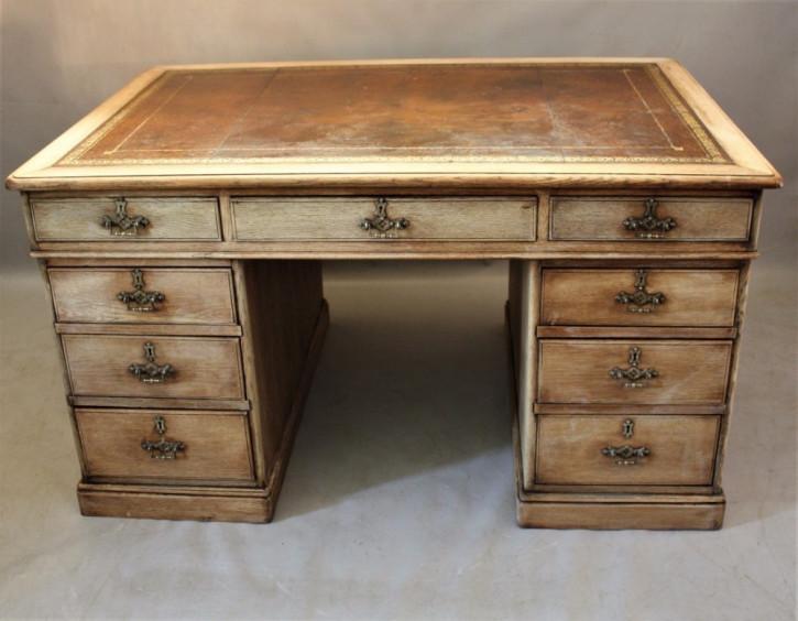 Viktorianischer antiker Partner Schreibtisch Eiche englisch ca 1880