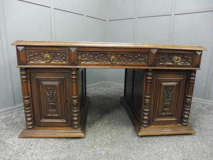 Viktorianischer antiker Eichen Schreibtisch britisch ca 1880