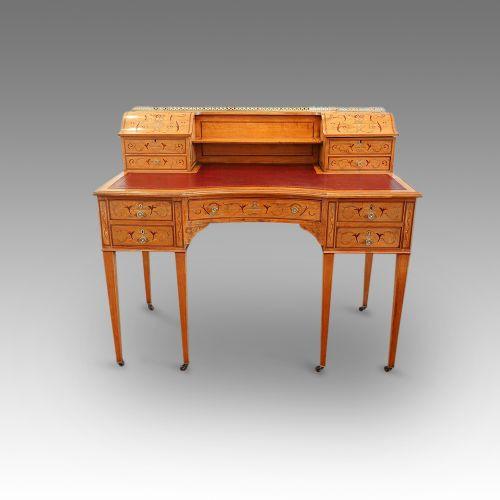 Edwardianischer antiker Schreibtisch Satinholz ca 1890