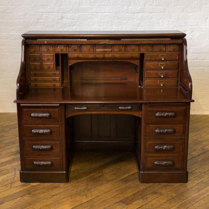 Edwardianischer antiker Nussbaum Schreibtisch Rolltop britisch ca 1890