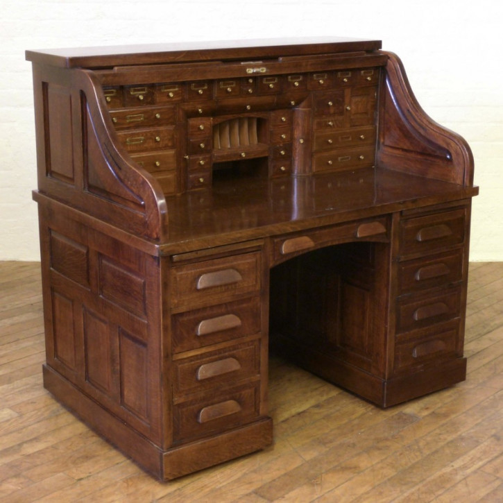 Edwardianischer antiker Eichen Schreibtisch britisch Rolltop Desk ca 1890