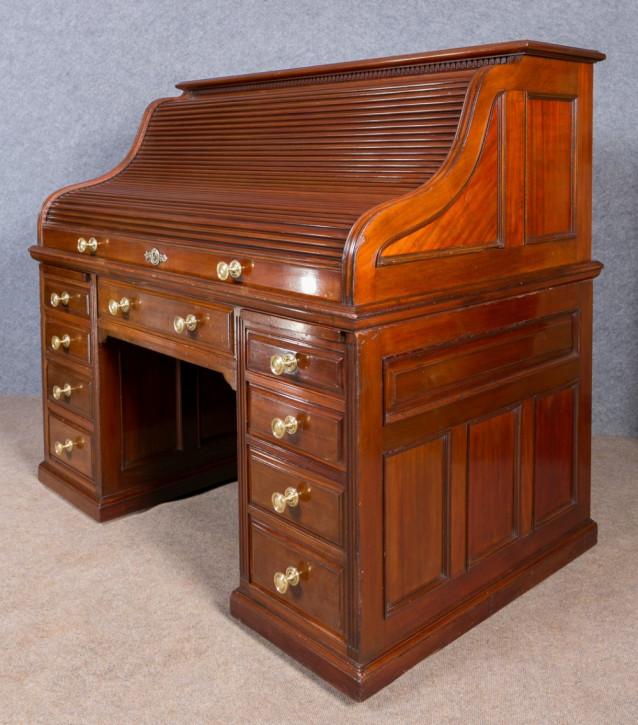 Antiker britischer Mahagoni Schreibtisch Rolltop edwardianisch ca 1890