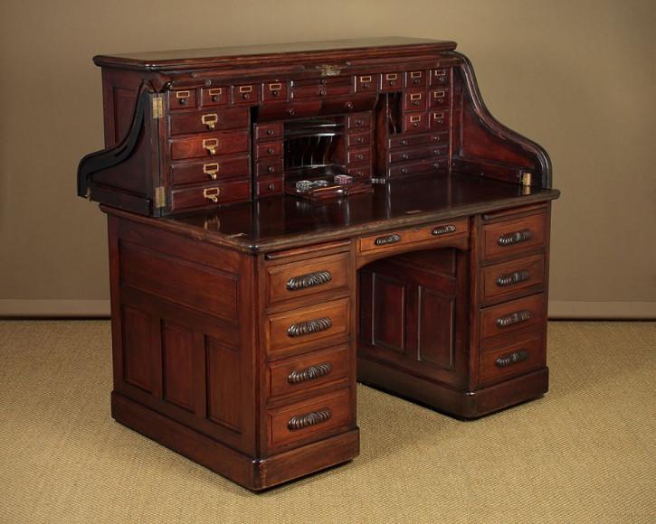 Edwardianischer antiker Schreibtisch Nussbaum englisch ca 1905