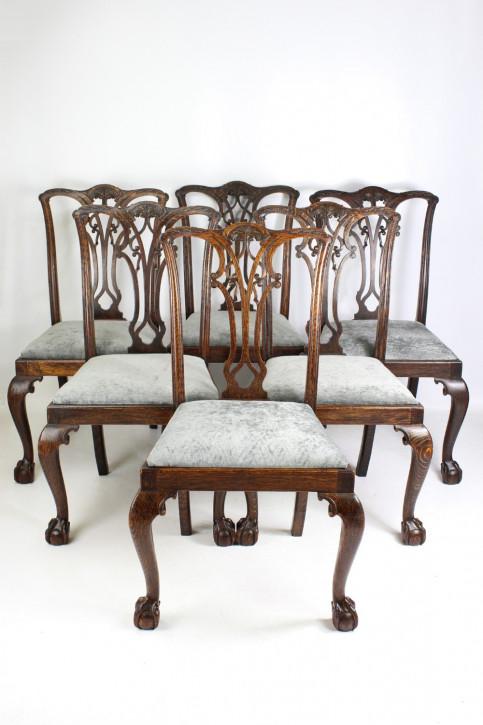 Edwardianische antike Chippendale Stühle Eiche englisch ca 1905