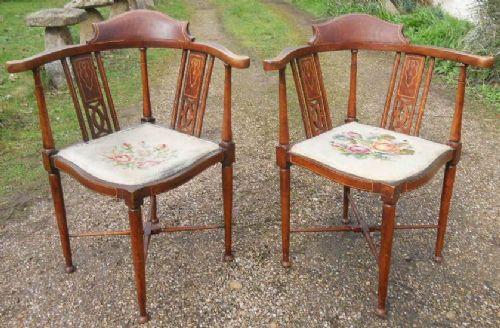 Edwardianische antike Mahagoni Stühle Eckstühle ca 1900