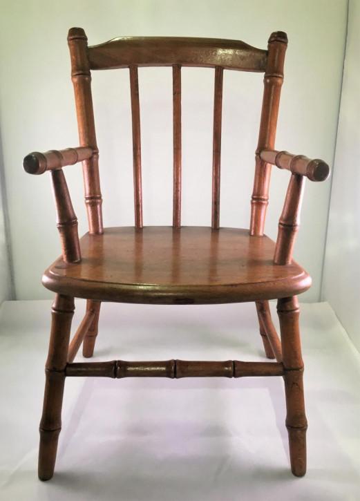 Edwardianischer antiker Buchen Stuhl Windsor Chair britisch ca 1890