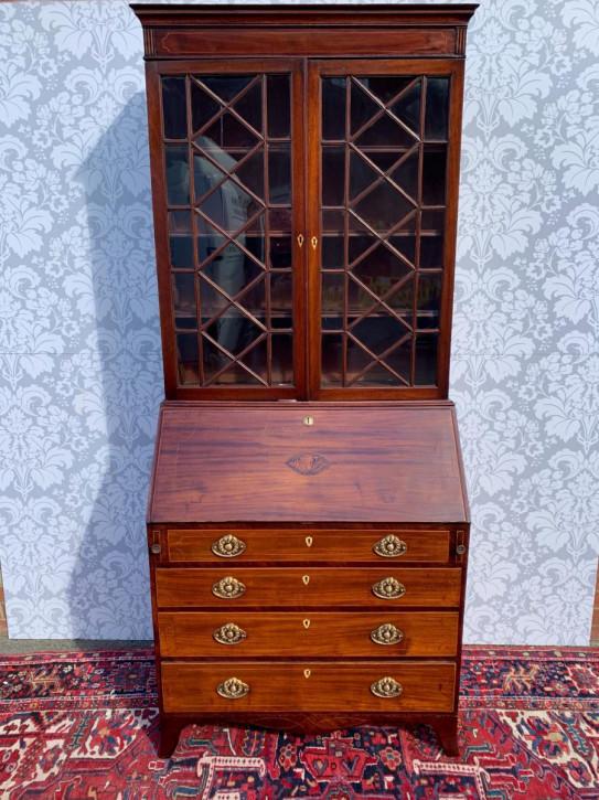 Georgianischer antikes Massivholz Bureau Bookcase Aufsatzsekretär ca 18. Jh