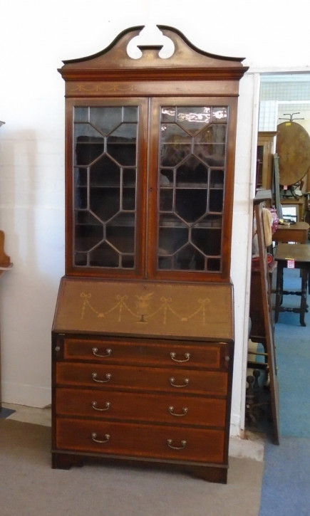 Edwardianischer antiker Mahagoni Bureau Bookcase Aufsatzsekretär ca 1890