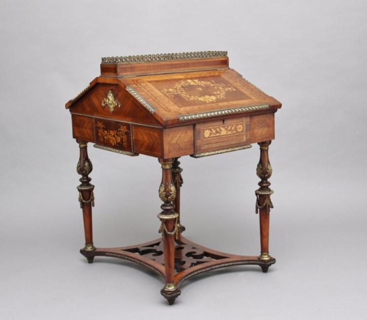 Antiker französischer Kingwood Sekretär Partners Desk ca 1870