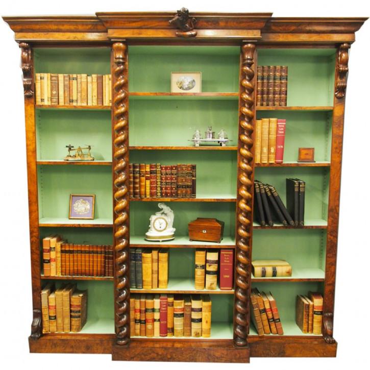 Viktorianisches antikes Breakfront Bücherregal Nussbaum britisch ca 1870