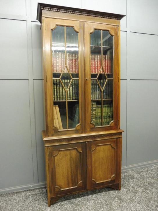 Edwardianischer britischer Mahagoni Bücherschrank antik ca 1910