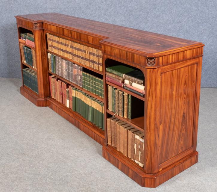 Antiker britischer Breakfront Bücherschrank Massivholz ca 1850