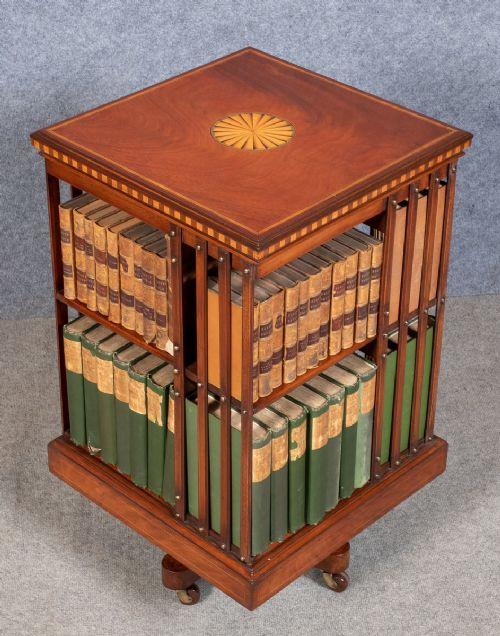 Antikes britisches Mahagoni Revolving Bookcase Bücherregal ca 1900