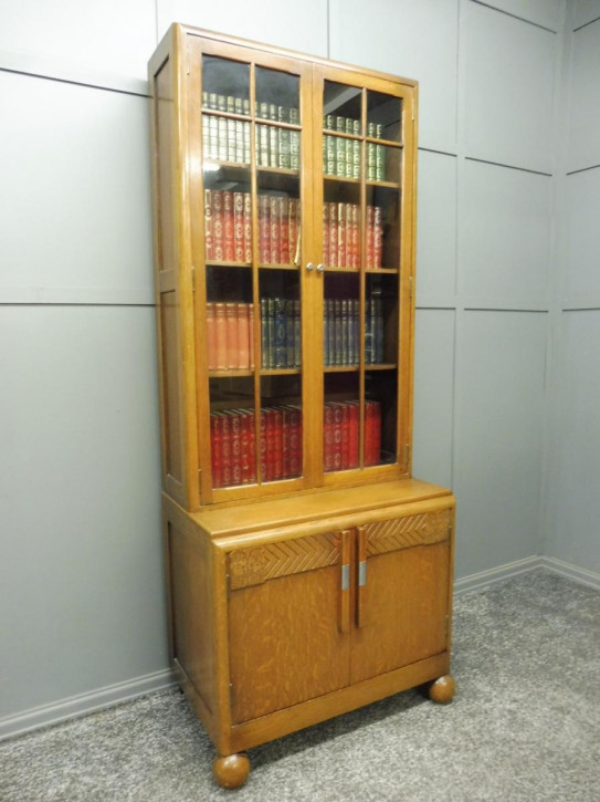 Antiker Art Deco Eichen Bücherschrank englisch ca 1930