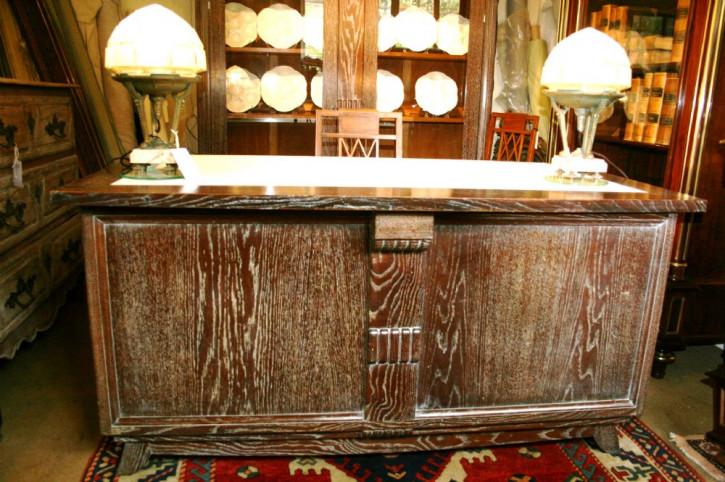 Art Deco Antiker Englischer Eichen Schreibtisch ca. 1930