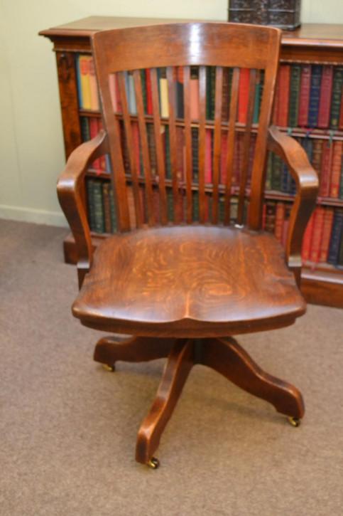 Antiker Englischer drehbarer Eichen Schreibtischstuhl ca. 1900