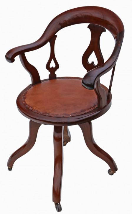 Viktorianischer Mahagoni drehbarer Schreibtischstuhl englisch ca. 1900
