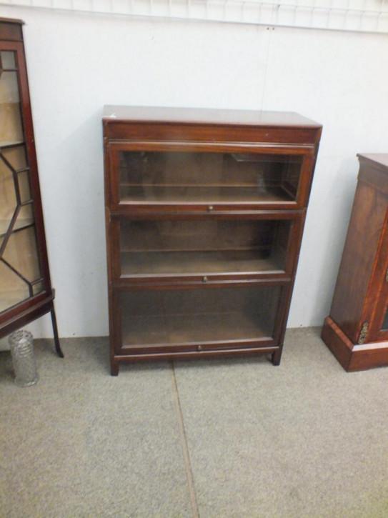 Englisches Antikes Mahagoni verglastes Bücherregal ca. 1920