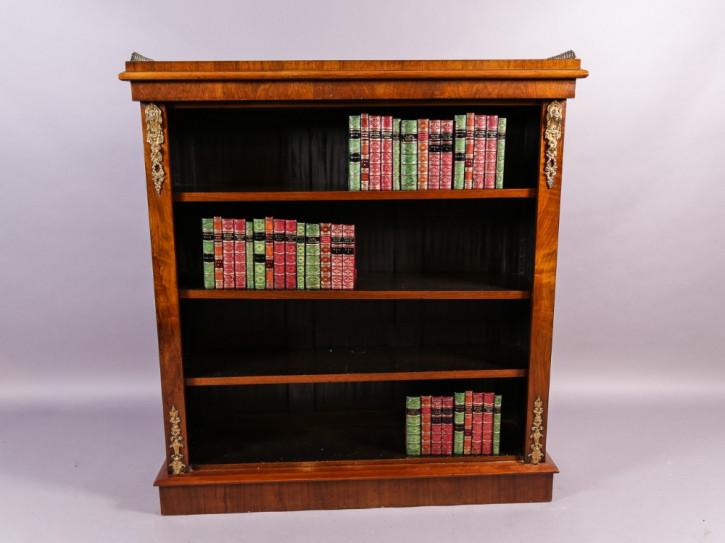 Viktorianisches antikes Nussbaum Bücherregal englisch ca 1860