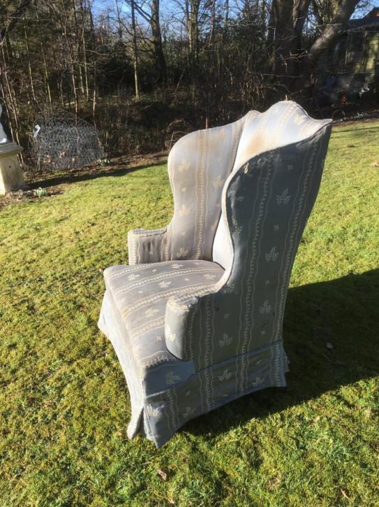Viktorianischer antiker Sessel Ohrensessel Stoff britisch ca 1880