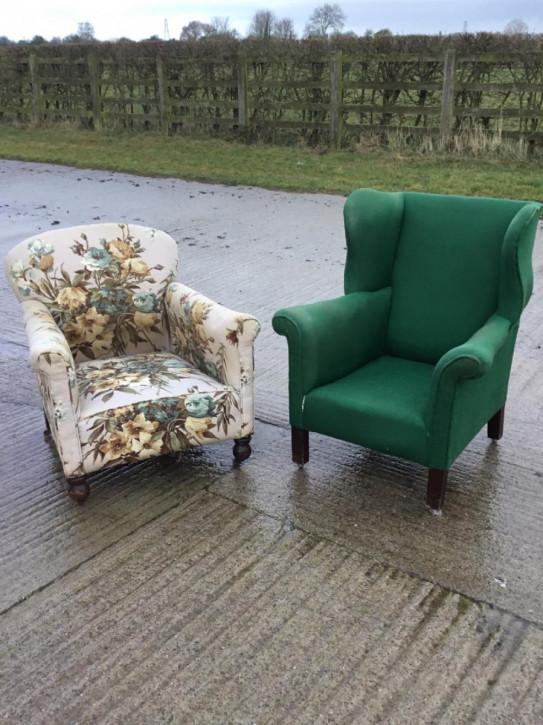 Viktorianische antike Stoff Sessel englisch ca 1880