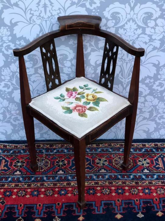 Edwardianischer antiker Mahagoni Stuhl Eckstuhl englisch ca 1890