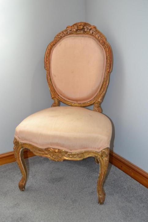 Antiker französischer Massivholz Stuhl vergoldet 19. Jh