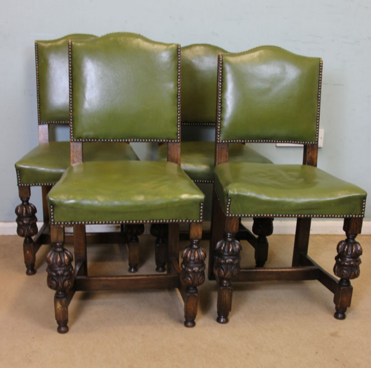 Antike britische Eichen Stühle Landhaus ca 1920