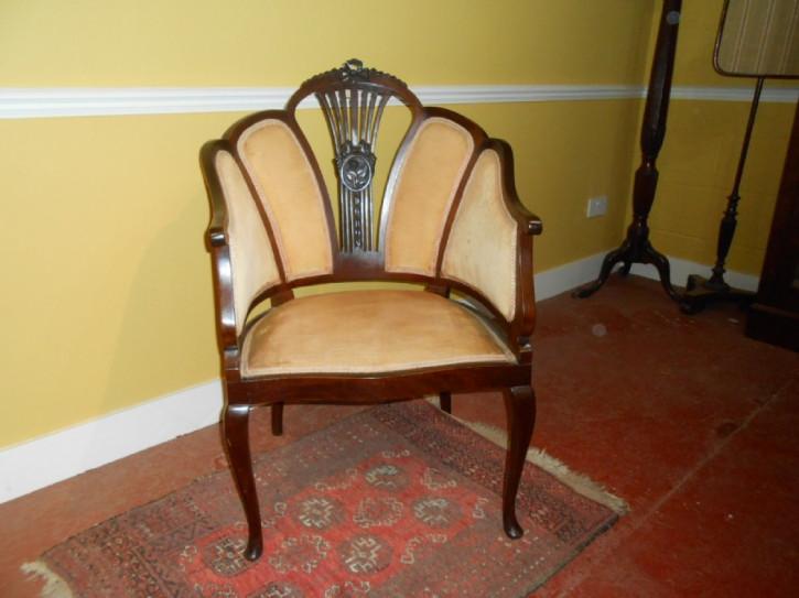 Edwardianischer antiker Massivholz Stuhl britisch ca 1890
