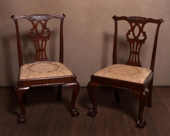 Englische edwardianische Mahagoni Stühle Chippendale antik ca 1890
