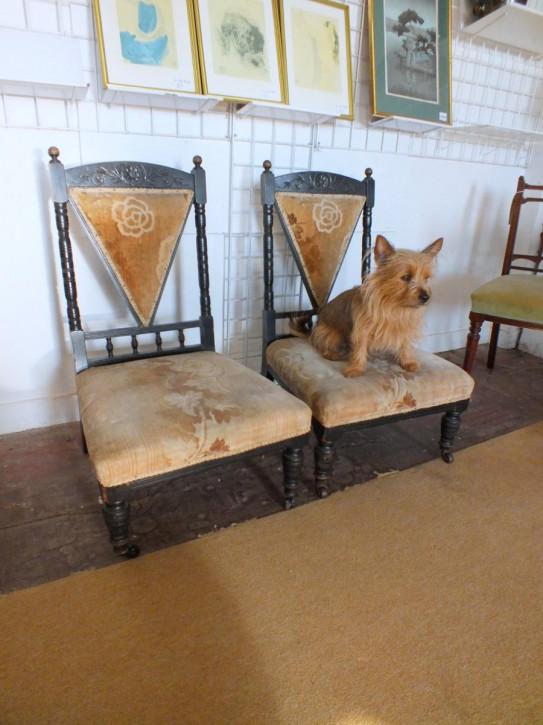 Edwardianisches Englisches Antikes Paar Stühle ca. 1900