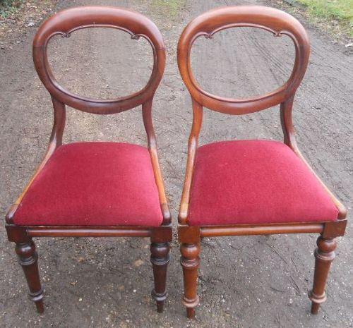 Viktorianisches Antikes Englisches Paar Mahagoni Esszimmerstühle ca. 1850
