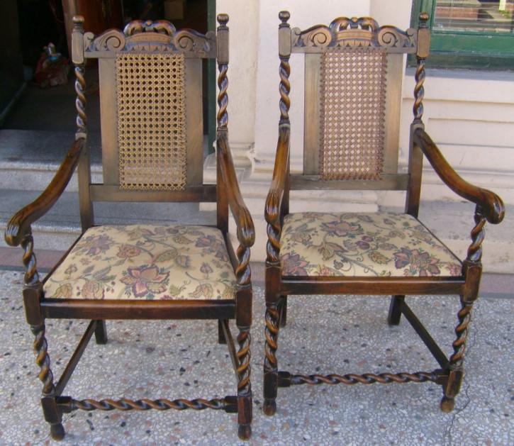 Antikes Englisches Paar gepolsterte Eichen Stühle ca. 1920