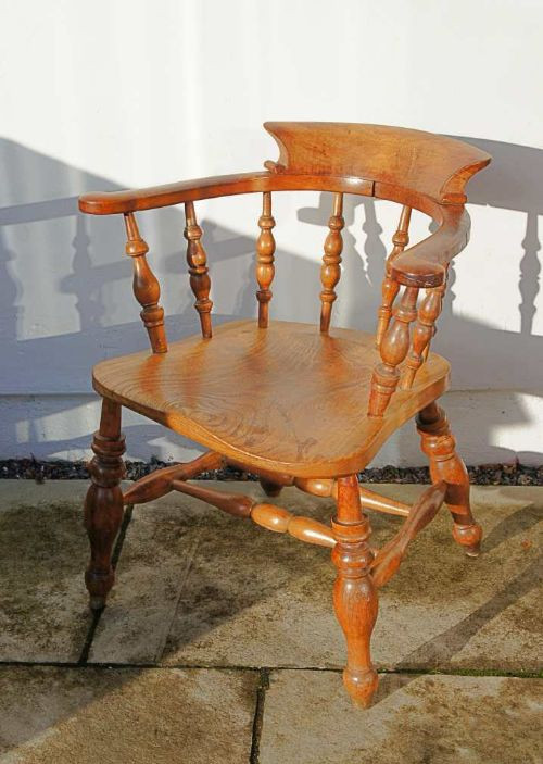 Viktoriansicher Antiker Englischer Esche Stuhl ca. 1860
