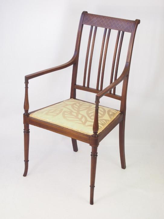Edwardianischer Englischer Antiker Mahagoni Intarsien Stuhl ca. 1900