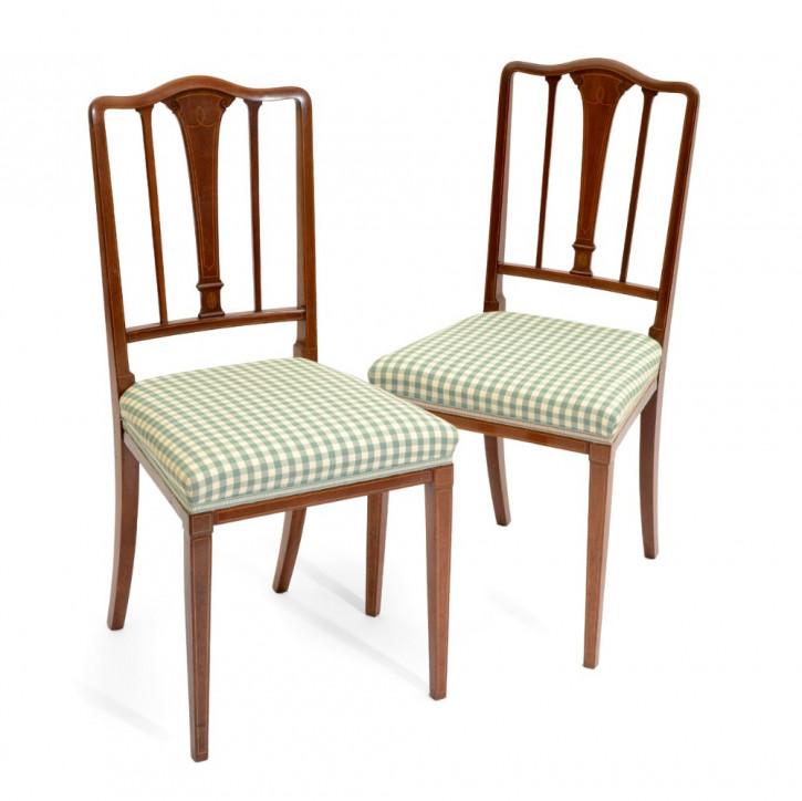 Edwardianisches Antikes Englisches Paar Mahagoni Stühle ca. 1900