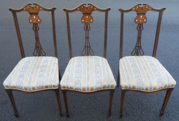 Edwardianischer Englischer Antiker Satz Mahagoni Stühle ca. 1900