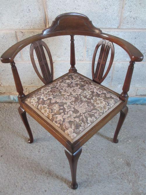 Edwardianischer antiker Mahagoni Stuhl Eckstuhl britisch ca 1890