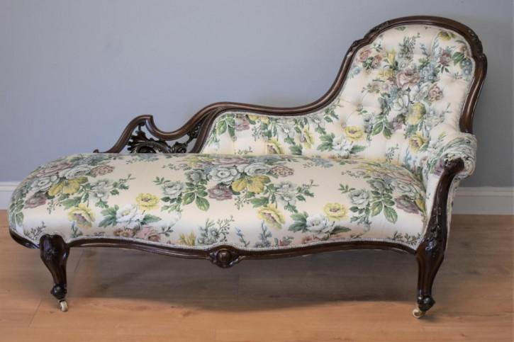 Viktorianische antike Mahagoni Chaiselongue Satinstoff britisch ca 1870