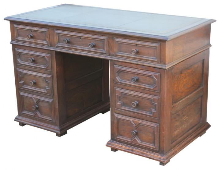 Englischer Antiker Ipswich Eichen Schreibtisch ca. 1920