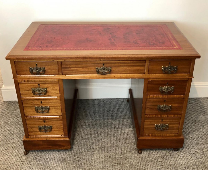 Antiker edwardianischer Schreibtisch Massivholz englisch ca 1890