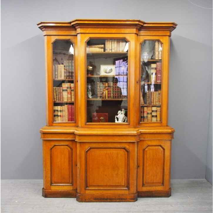 Antiker viktorianischer Eichen Bücherschrank britisch ca 1860