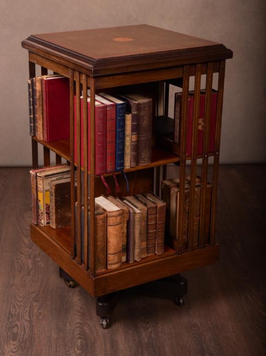Edwardianischer antiker Mahagoni Bücherschrank Revolving Bookcase britisch ca 1890