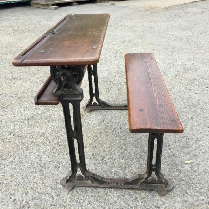 Antike Englische Ulmen Doppelsitz Schulbank ca. 1900