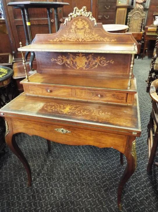 Englischer Antiker Massivholz Intarsien Schreibtisch ca. 1880