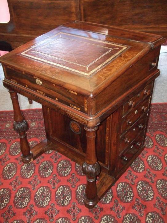 Viktorianischer Palisander Davenport Schreibtisch antik ca 1850
